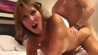 Stunning and horny american mature MILF gets amazing creampie from stepson