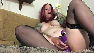 Bbw tattooed milf fucks herself slowly and cums multiple times