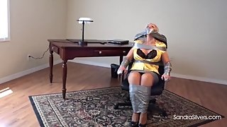 1591 Secretary Duct Taped to Chair Gets On-Screen Gagging by LadyBoss!