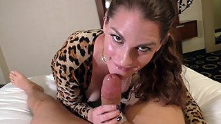 Halloween Sloppy Blowjob. Cums in Milfs Mouth!