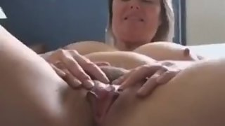 Natural milf mum strips and plays solo for stepson