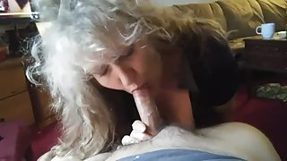 Blond MILF takes brutal face-fuck from stepson before his dad gets home