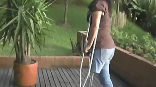 RAK Ampute Jesica crutches outdoors