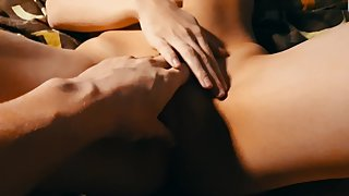 Fucked in a narrow pussy and cumshot on stomach.
