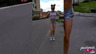 Amateur Walks Down the Outdoor and Dances