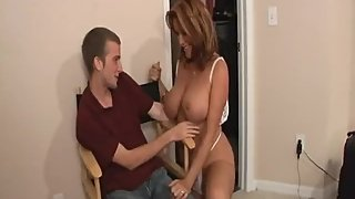 Rachel Steele MILF100 - Son spies on Stepmommy in white Lingerie!