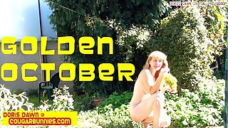 Golden October -backstage of a gracious and sensual outdoor photo shooting.