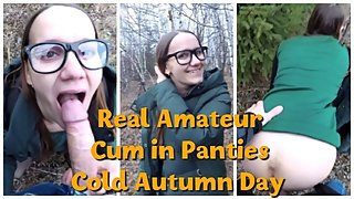 Real Amateur Public Sex in Cold Autumn Day