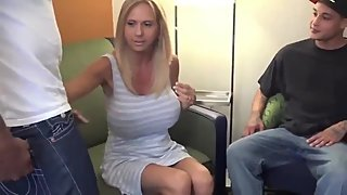 Stepson with big dick shares his naughty stepmom with his black best friend