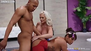 Alena Croft and Bridgette B get fucked Doggystyle by yoga instructor