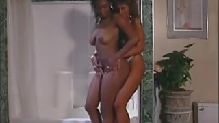 Interracial Lesbian Sex in Shower