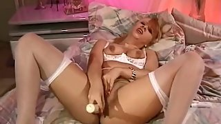 Cute Blonde Babe Big Toy Masturbation For Her Pussy