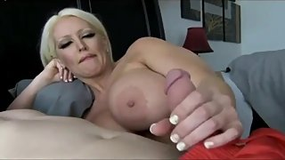 Naughty blonde MILF seduces and fucks her 18yo best friend