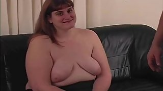Redhead BBW Amateur MILF Jacks Cock with Nasty Lotion