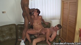 Two dudes have fun with her old mother
