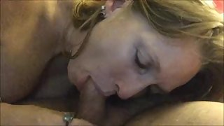 hot blonde mom with big tits loves to suck my cock