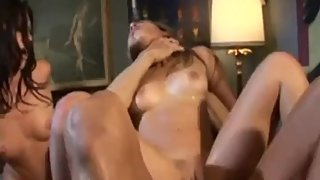 Two Slutty Girls Fuck a Hunk Guy and have Some Cumshots