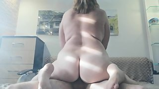 BBW MILF get real orgasm riding dick, pussy creampie amateur PAWG mom