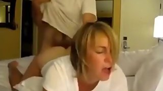 Naughty wife cheating on husband with her boss on business trip