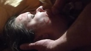 Choked while taking cum facial