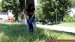Peed her jeans on side of road