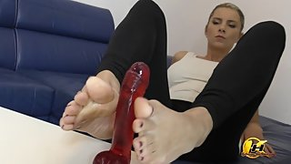 In blue high heels shoe play and next feet job with red dildo