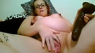 Preggo Subservientfeline with a big toy