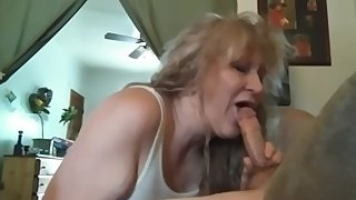My dad's hot wife gives me an awesome blow job when I got home from school