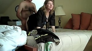 Shameless mature wife cheating on husband with her new boss in hotel