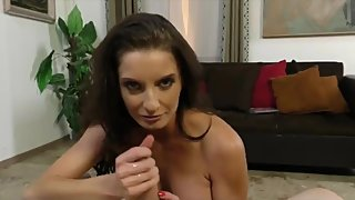 Sexy stepmom made her stepson cum on her face