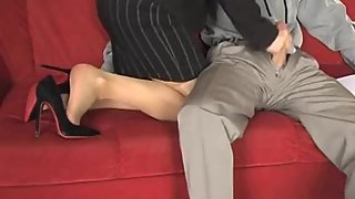 high heels and pantyhose tease (heelpopping)