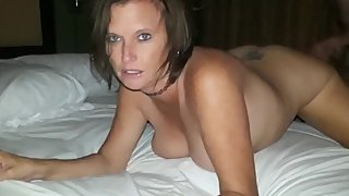 Husband films his busty wife gets hot creampie from his best friend