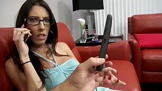 Gorgeous stepmom gets amazing creampie from her stepson while phone talking