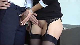 Sexy secretary made her new boss with big cock cum