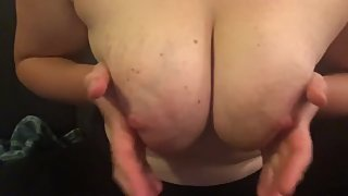 Massaging my tits and squeezing out breast milk