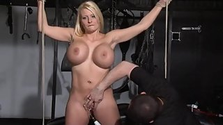 Busty slave melanie moons electric masturbation