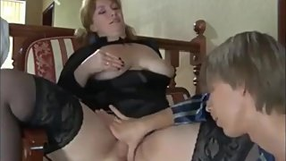 Virgin stepson seduces and fucks his mature stepmom