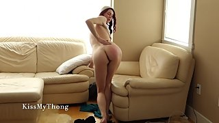 Strip Tease for Long Distance Boyfriend From a Shy Girl in Thigh Highs
