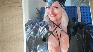 Cum Tribute on blonde big tits cosplay girl from germany